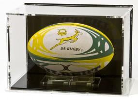 Rugbyball Vitrine mit schwarzem Boden und schwarzer Rückwand für Größe 3