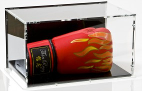 Boxhandschuh Vitrine mit schwarzem Boden und schwarzer Rückwand - liegend