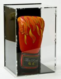 Boxhandschuh Vitrine mit schwarzem Boden, schwarzer Rückwand und Boxhandschuh-Ständer - stehend