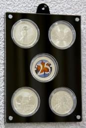 Münzrahmen für 5 gekapselte 1oz Silbermünzen