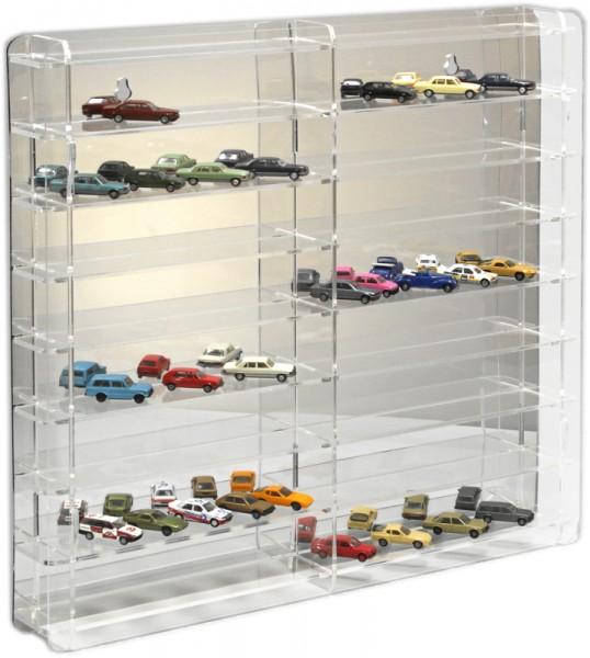 SORA Modellvitrine mit transparenter Rückwand für 1:87 Modellautos und Trucks