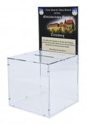 Große Spendenbox / Promotionbox mit Werbeeinschub