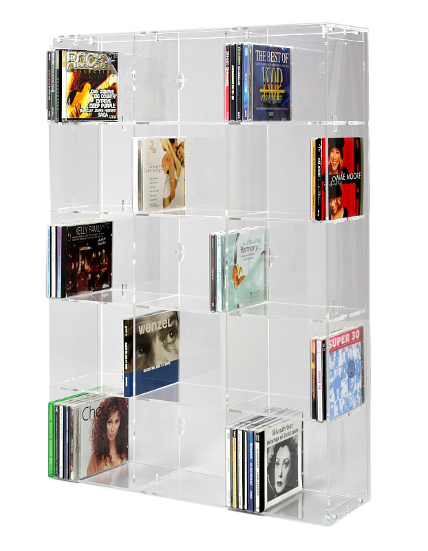 Acrylic CD Rack with transparent back-panel for up to 227 ...