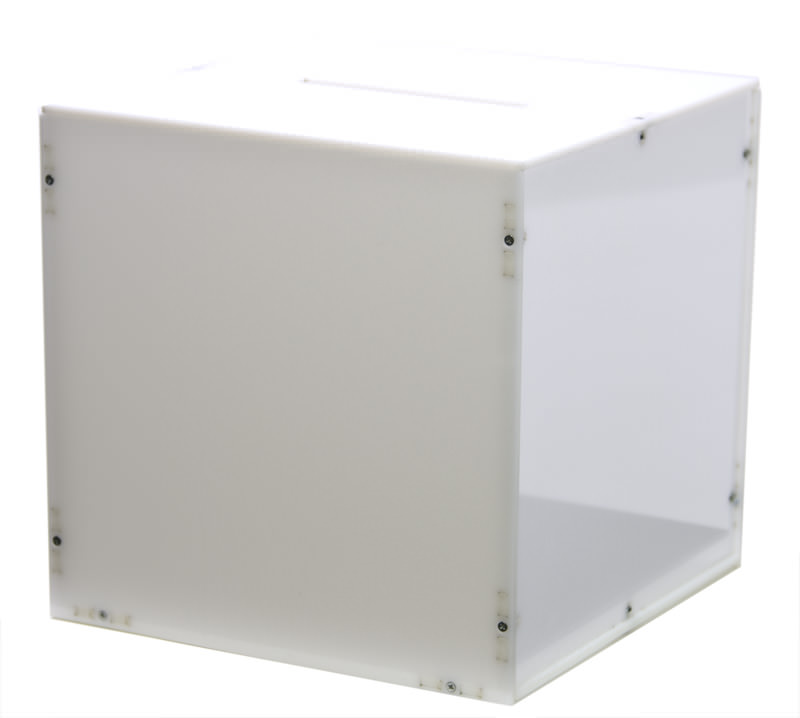 Side view of the white ballot box / raffle box