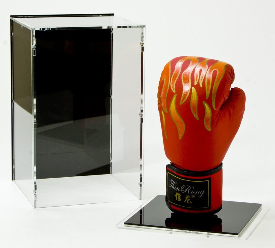 Boxing Glove Display Case with Base and Glove-Stand