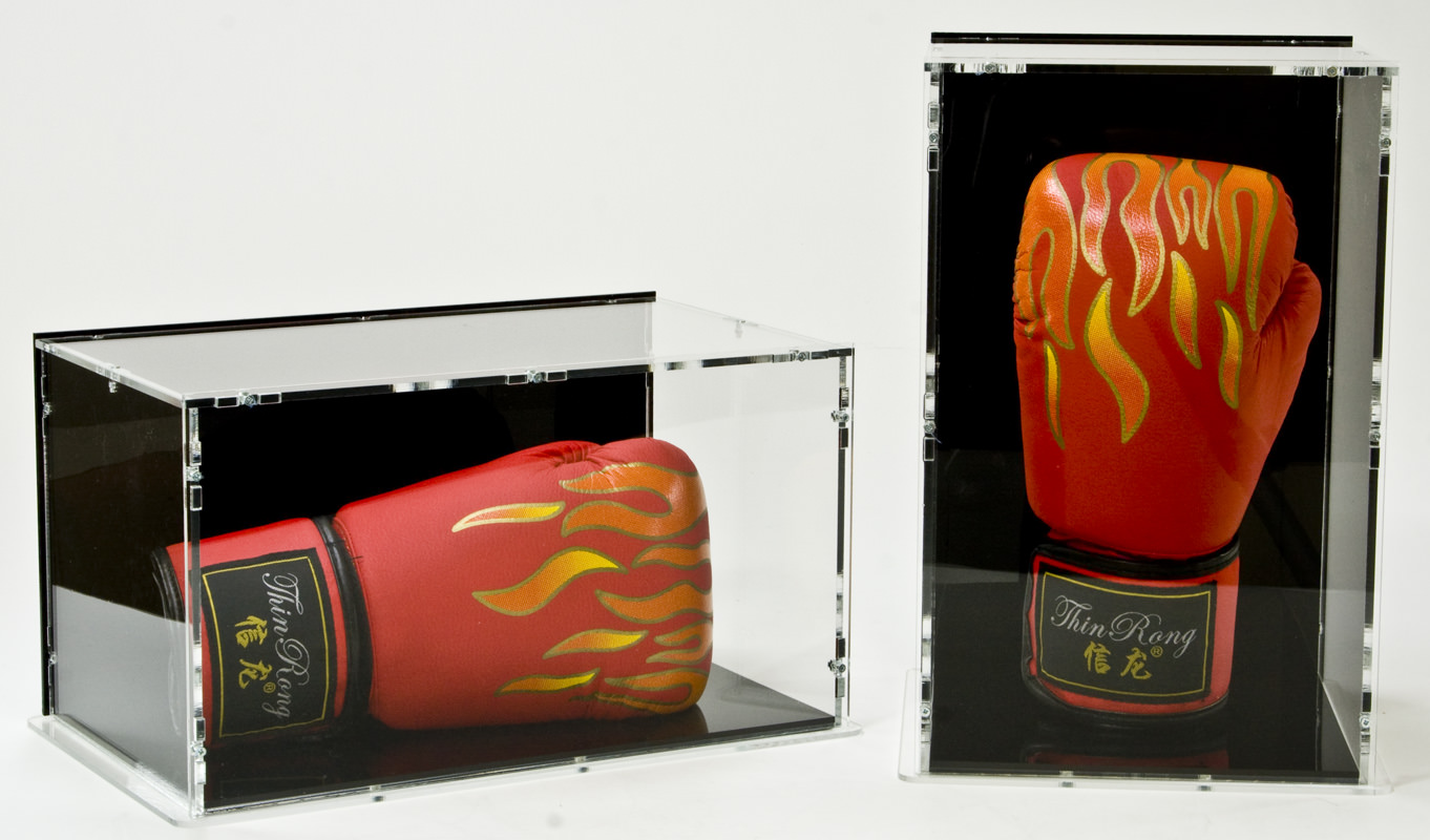 Both boxing glove display cases together