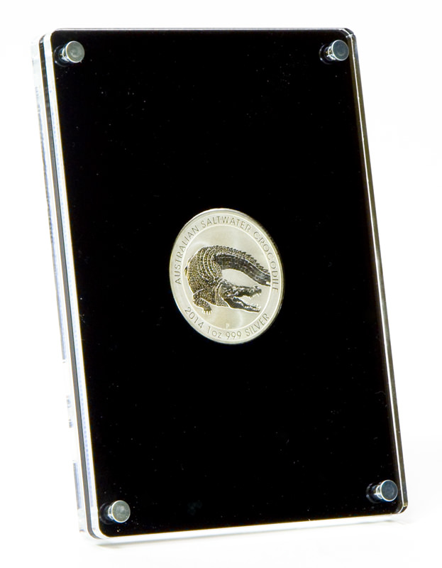 Front view of the standing coin case