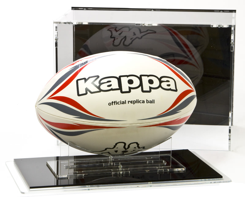 The Rugby Ball Display Case with Rugby Ball Stand